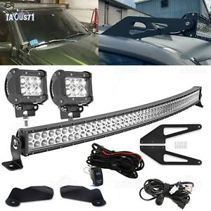 Roof 50 Curved Light Bar MountHood Ditch Pod For 93 98 Jeep Grand Cherokee ZJ $39.95