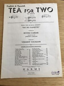 Vintage 1940s quot;TEA FOR TWOquot; Piano sheet music ENGLISH and SPANISH $12.00