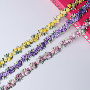 2 Yards Flower Embroidered Lace Trim Ribbon Fabric DIY Sewing Handmade Craft C $4.19