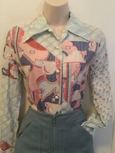 1970s Disco Psychedelic Funky Silver Lurex Pearl Art Deco Blue Pink M