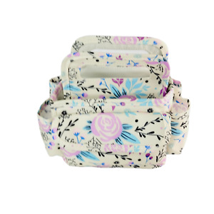 Canvas Craft Sewing Organizer Small 8x9quot; Beige Pink Floral Multi Compartments $18.73
