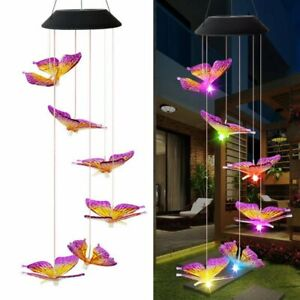 Solar Color Changing LED Large Butterfly Wind Chimes Home Garden Decor Light $12.99