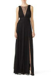 Adrianna Papell Lace Illusion Pleat Gown Dress 2 Sleeveless Crew Neck Side Slit $18.49