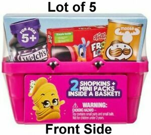 Lot of 5 Shopkins Real Littles Real Brand Surprise Blind Bags Baskets Season 12