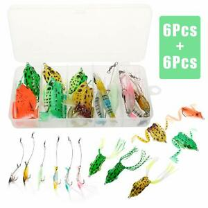 12PCS Topwater Frog Lures Artificial Lifelike Silicone Lures Soft Bait Bass Lure