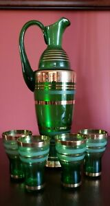 Wine Cocktail Dessert Pitcher and Set of 4 Glasses Gold and Green