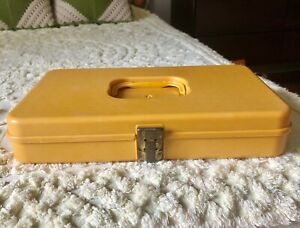 Vintage 70s Wil Hold Wilson Yellow Plastic Sewing Box Sewing Storage $18.00