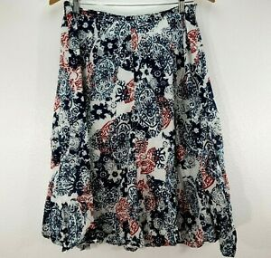 Chicos Skirt Womens 2 Full Red White Blue Cotton Midi Size Large $21.94