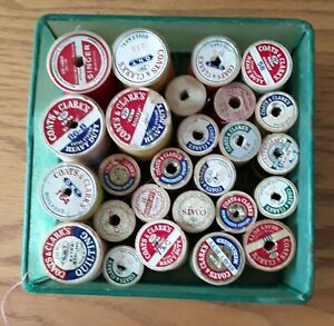 Lot of 26 Wooden Sewing Spools with Thread Various Colors and Brands Used $10.00