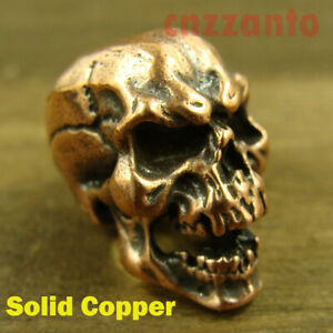 Solid Copper Paracord Bead Lanyard Beads  Skull  for EDC gear LB110 $11.99
