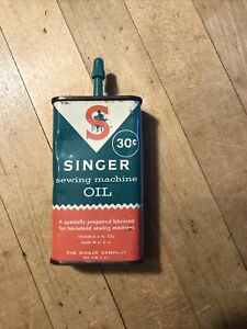 VINTAGE SINGER SEWING MACHINE OIL CAN 30 CENTS OVER HALF FULL $9.48