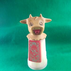 Vintage Whirley Industries Moo Cow Creamer Pitcher Red Floral Design Plastic L $14.99