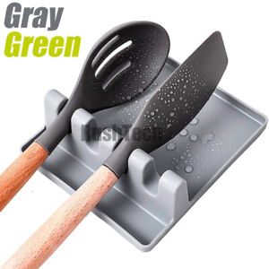 Spoon Rest with Drip Pad Heat Resistant Kitchen Cooking Utensil Spatula Holder