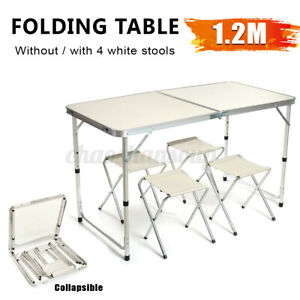 4ft Folding Aluminum Alloy Table Camping Picnic BBQ Party Garden W Chair
