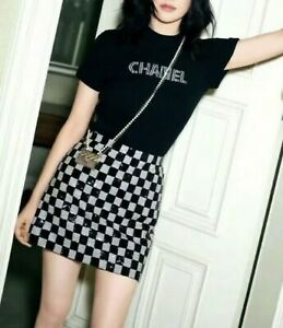 AUTH CHANEL RUNWAY LETTER LOGO KNIT BLACK SHORT SWEATER SIZE40 $550.00