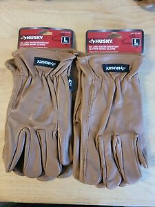 Lot of 2 Pair Size Large Husky Oil And Water Resistant Leather Work Gloves