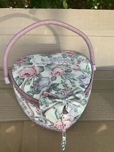 Vtg Fabric Covered Sewing Storage Box Basket Heart Shaped Floral Padded w Liner $24.98