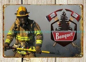 plaque art decor protect our west coors beer firefighter metal tin sign