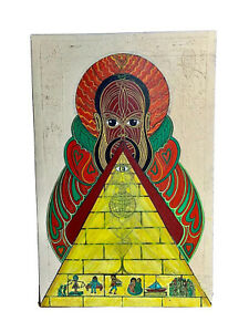 HUGE VTG 1960#x27;S ABSTRACT PSYCHEDELIC BLACK FOLK ART PAINTING JHAMA DE ICA BASS