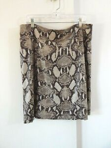 CHICOS skirt pencil knee length snakeskin reptile stretch 2 $14.78