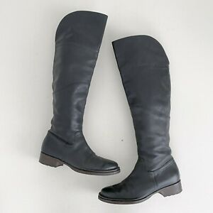 Alberto Fermani Size 39.5 Over The Knee Leather Riding Boot Black Cuffable $88.00