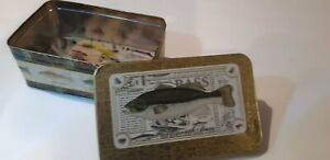 Vintage lot of 24 fishing flies in cork lined fish tin container bass