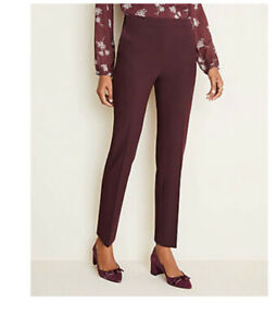 NWOT Ann Taylor The Petite Side zip Ankle Pant In Bi stretch In Burgundy Sz 10 $20.00