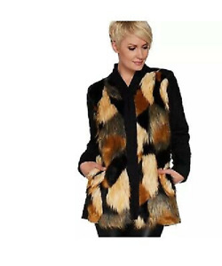 LOGO by Lori Goldstein Faux Fur amp; Quilted Jacket Coat BLACK Size 12 NEW A297092 $37.98