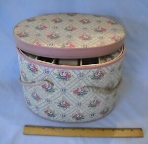 Vintage Oval Victorian Pattern Sewing Box w Tray Filled with Old Notions $35.00