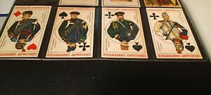 4 CHROMOLITHOGRAPHIC PLAYING CARDS OF RUSSIAN MILITARY CARPENTIER AD ON BACK $250.00