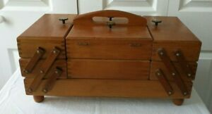 Vintage Accordion Style Wooden Sewing Box amp; Assorted Notions Made In Romania GC $70.00
