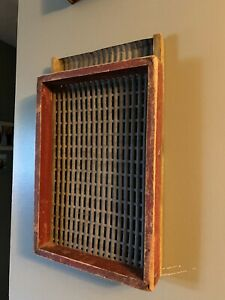 ANTIQUE WOOD amp; TIN SEED SORTER IN OLD RED PAINT $100.00