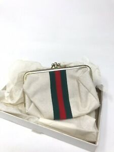 Vintage Sew Clutch Gucci Stripe Sewing Kit Travel Coin Purse Compact COMPLETE $12.99