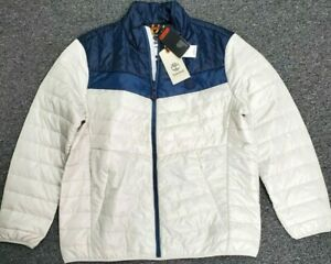 Timberland Thermore EVOdown Men XL White Navy Light Packable Jacket NWT $178 $129.95