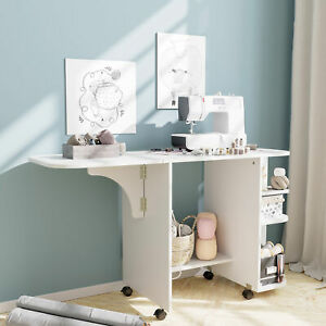 Modern Wood Folding Sewing Table Lockable Casters Expanded Rolling Craft Cabinet $85.99