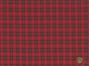 100% Cotton HOMESPUN Fabric for Quilting Sewing RED amp; BLACK PLAID BTY $11.75