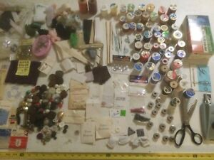 Vintage Sewing Notions Lot Buttons Greist Buttonholer Thread Pins Needles Fabric $30.00