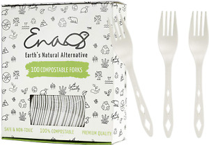100% Compostable Non Plastic Forks 100 Pack CPLA Disposable Forks. Non Plastic