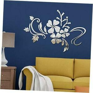 Mirror Wall Stickers Self Adhesive DIY Removable Mirror Plastic Flower Silver