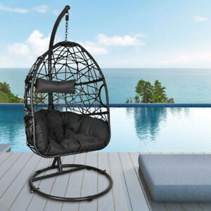 Wicker Egg Chair with Stand Indoor Outdoor Hanging Chair Swing for Patio Balcony