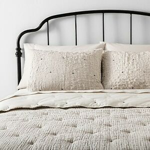 3pc Full Queen Stripe and Stitch Embroidery Comforter Sham Set