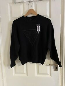 Guess Front Logo Black Sweater Size XS GBP 49.99