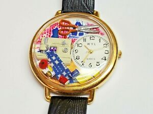 Whimsical Watches Sewing Black Leather Watch $39.99