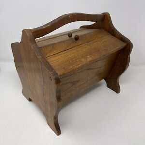 Vintage 1940s Wooden Sewing Knitting Box with Double Opening $48.00