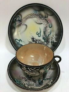 Antique Japanese Dragonware Moriage Side Plate Saucer  Gold Lusterware Tea Cup