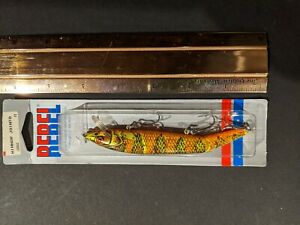 Rebel Jointed Minnow Lure Orange Red Lime 4 1 2quot; 1984 New in Box Fishing Lure
