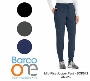 Barco One Women#x27;s BOP513 3 Pocket Mid Rise Perforated Jogger Scrub