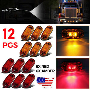 12PCS LED Car Truck Trailer RV Oval 2.5quot; Side Clearance Marker Lights Amber Red