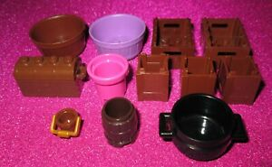 Lot Of 12 NEW LEGO Containers: Crates Buckets Barrels Boxes Treasure Chest