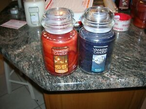 YANKEE CANDLE 2 22 0Z JACK O LANTERN AND MYSTIC MOON TWO SUPER CANDLES